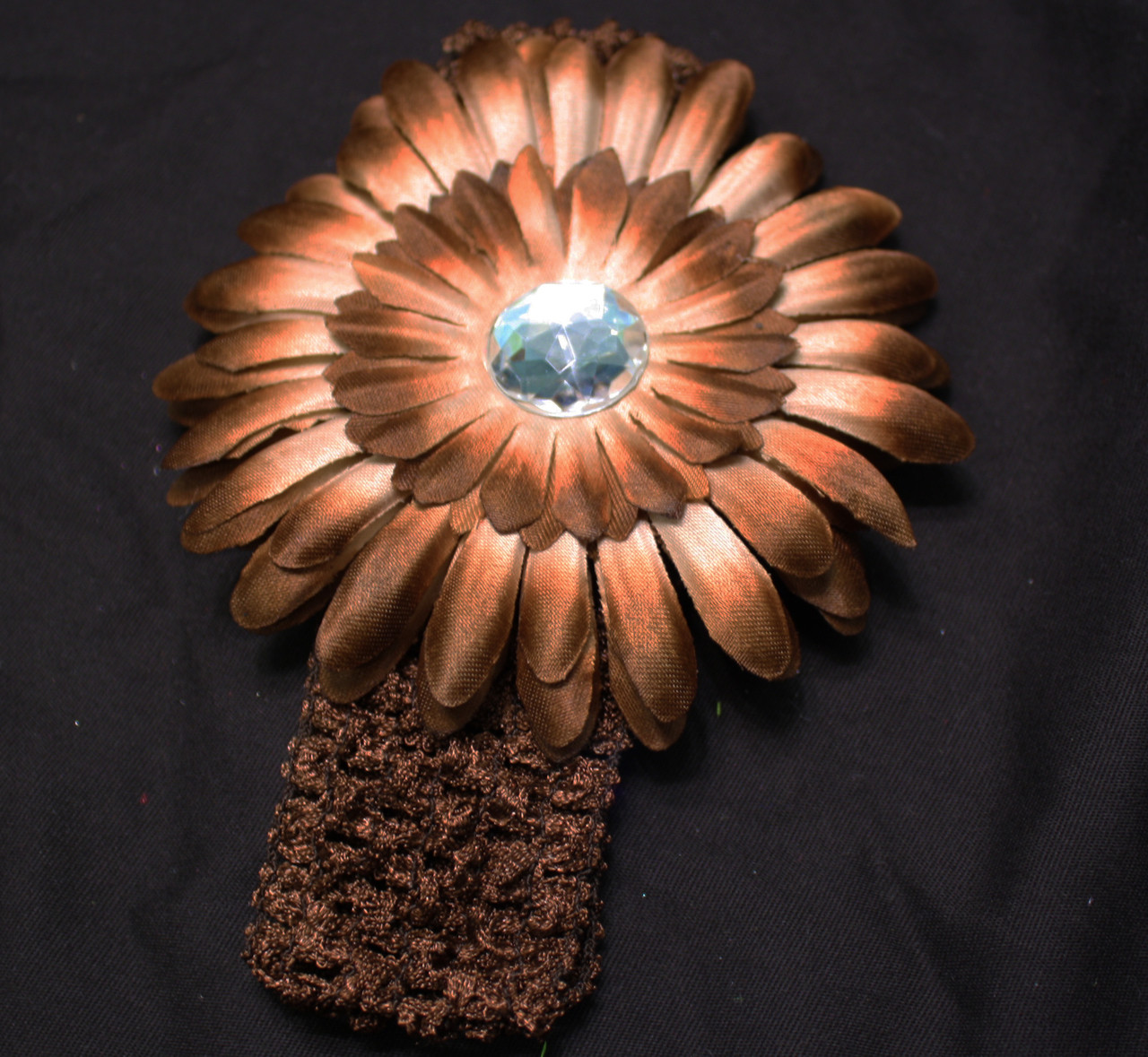 Brown Gerbera daisy flower crochet headband