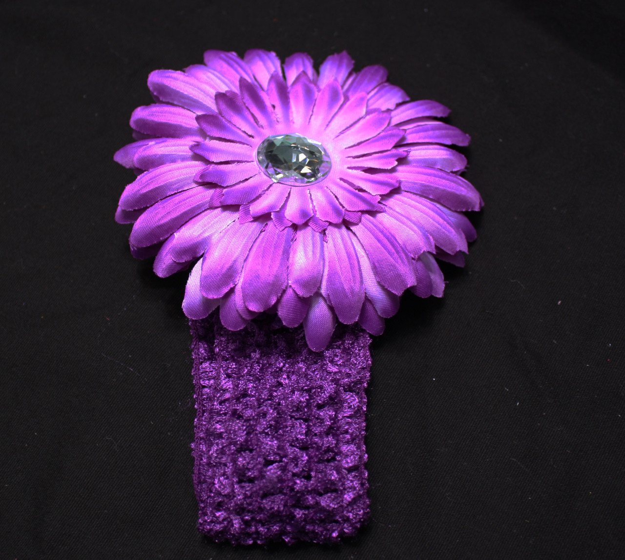 Purple Gerbera daisy flower crochet headband