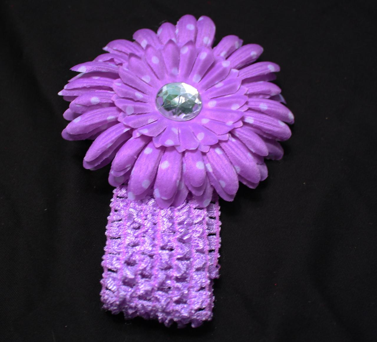 Lavender polka dot Gerbera daisy flower crochet headband