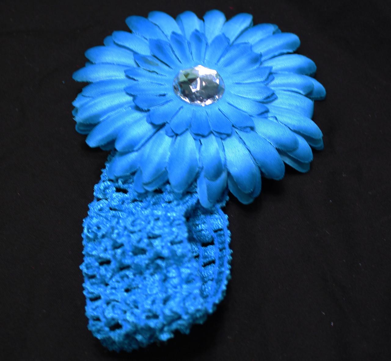Turquoise Gerbera daisy flower crochet headband