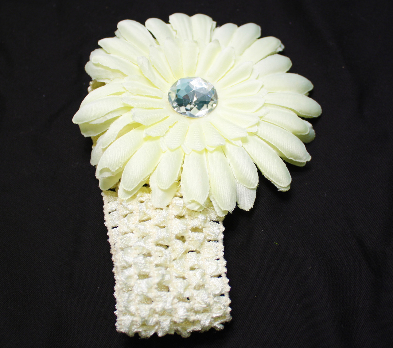 Cream Gerbera daisy flower crochet headbands