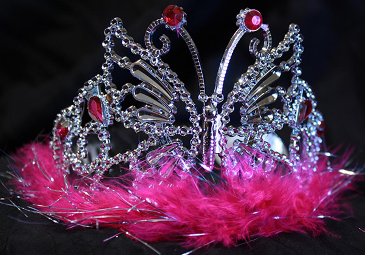 Hot pink butterfly tiara