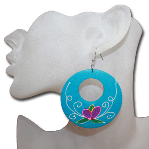 Teal wooden hoop earrings