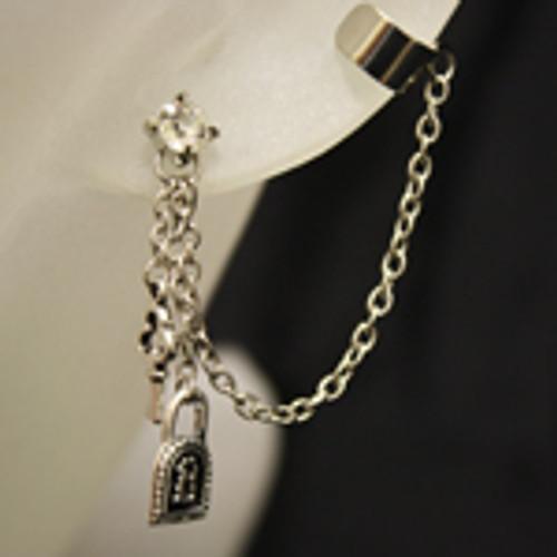 Wholesale lock and key ear cuff earring set