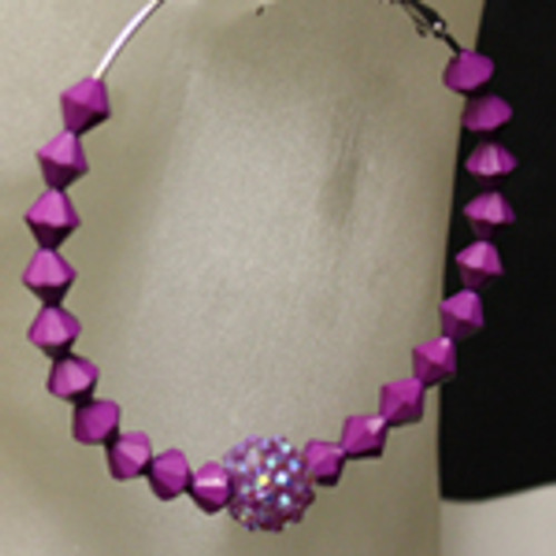 Purple diamond bead earring