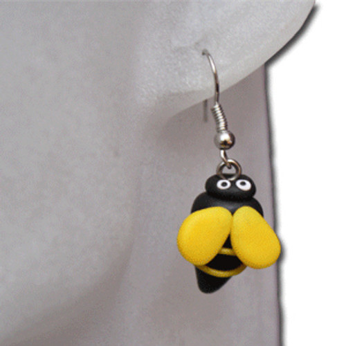 Kids black bumblebee earring