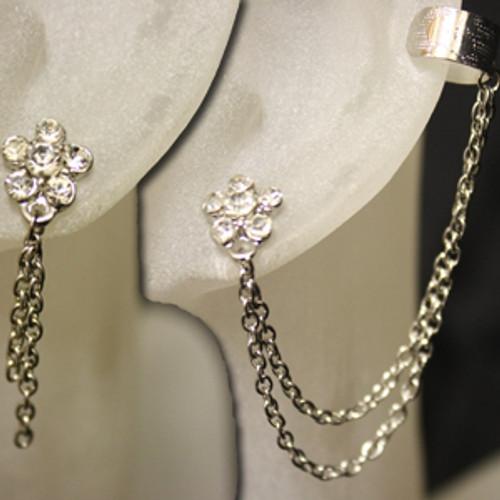 Flower chain ear cuff earring set.