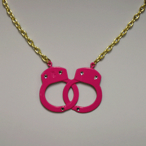 Hot pink handcuff necklace