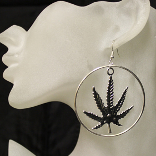 Silver marijuana leaf earrings