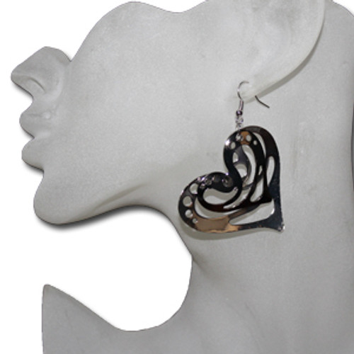 Metal heart earrings