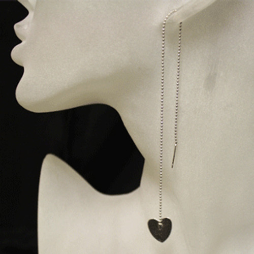 Threaded heart earring