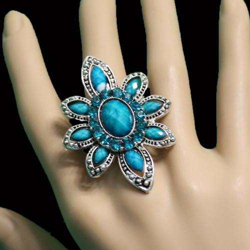 Teal flower ring