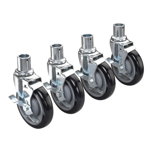 """Krowne 28-151S Caster Set, 5"""" Dia, W/Brake, For Wire Shelving (Set of 4)"""