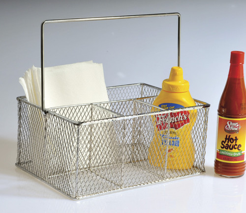 """GET WB-700 Stainless Steel Condiment/Flatware Holder, 9-3/8"""" x 6-7/8"""" x 4-1/2""""H"""