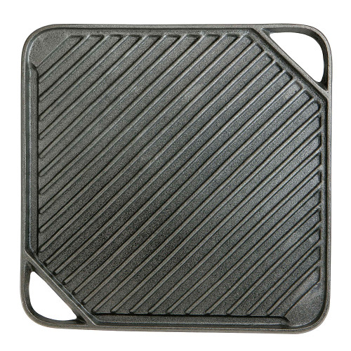 """CHEFMASTER 08102Y Griddle, 10-7/16""""x10-7/16"""", Square, Reversible, Cast Iron"""