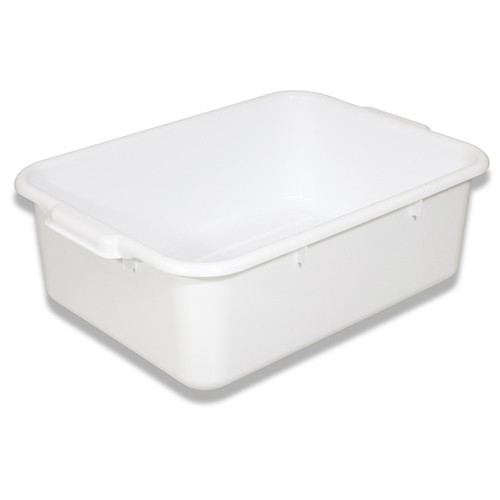"Crestware BT7WH White Plastic Bus Tub, 20-1/2""x15-1/2""x7"", One Compartment"