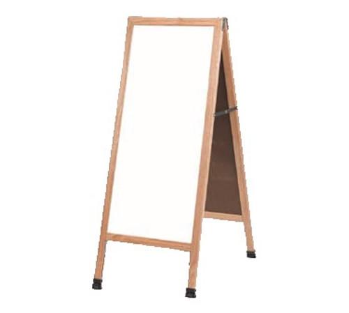 """Aarco A-35 Sidewalk A-Frame, White Marker Board, 18"""" x 42"""", Oak"""