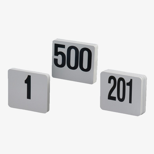 "American Metalcraft 450 Table Numbers,#1 thru #50, 4"" Square, White Plastic"