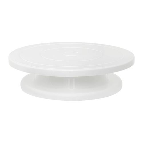 "ATECO 608 11"" Cake Stand, Revolving, White Polypropylene"