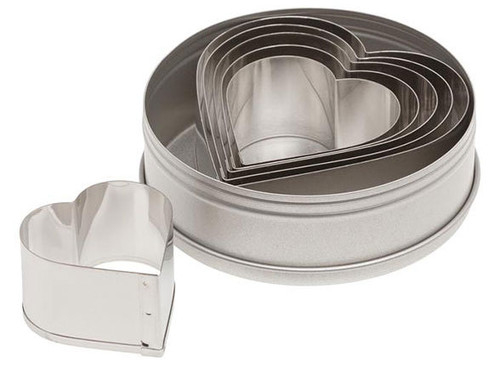 ATECO 7804 Plain Heart Cutter Set, 6 Pieces, Stainless