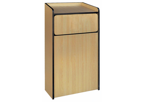 Winco WR-35 Garbage Cabinet, Natural Wood, Tray Top Design