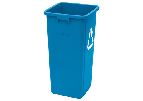 """Winco PTCS-23L Trash Can, 23 gallon, Square, Tall, Blue """"Recycle"""""""