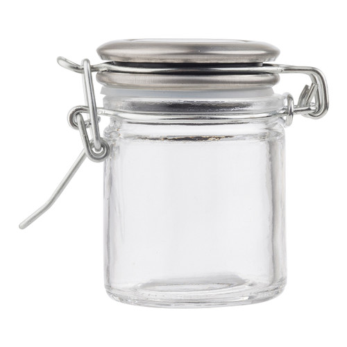 Tablecraft 10105 Spice Jar, 1-1/2 oz., Glass, Resealable Stainless Top