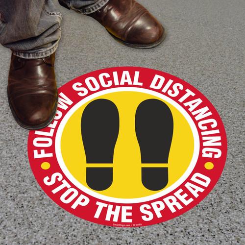 "MYSAFETY FO-09-CIR SlipSafe Floor Sign, 9"" Circle, Follow Social Distancing Stop The Spread"