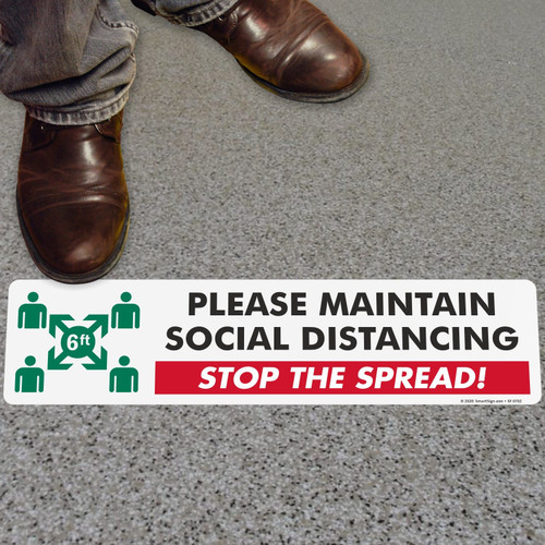 """MYSAFETY FO-24 SlipSafe Floor Sign, 6"""" x 24"""", Please Maintain Social Distancing"""