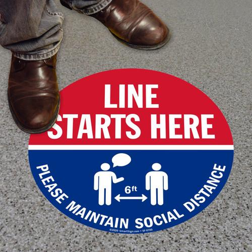 "MYSAFETY FO-09-CIR-LSH SlipSafe Floor Sign, 9"" Circle, Line Starts Here Please"