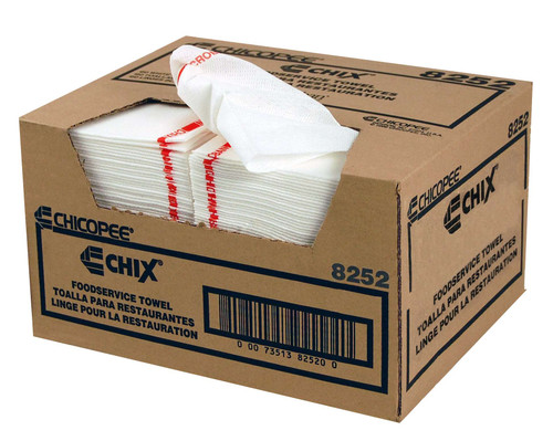 "Chicopee 8252 13"" x 21"" Chix Towel, White/Red Stripe, 150/Case"