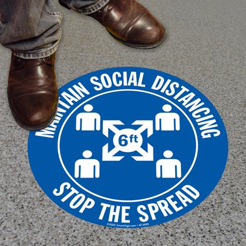 "MYSAFETY FO-09-CIR-MSD SlipSafe Floor Sign, 9"" Circle, Maintain Social Distancing"