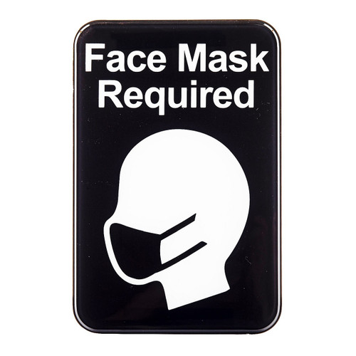 """Tablecraft 10541 """"Face Mask Required"""" Sign, 9"""" x 6"""", Plastic, Black"""