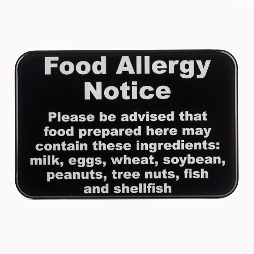 "Tablecraft 10481 Food Allergy Sign, 9 x 6"", Plastic, Black"