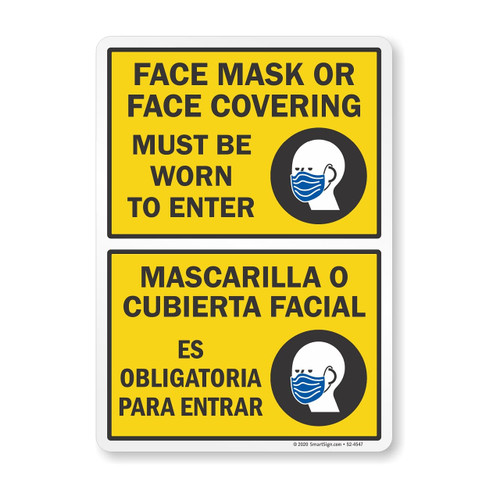 """MYSAFETY S2-4547 7"""" x 10"""" Bilingual Social Distancing Sign: Face Mask Or Face Covering Must Be Worn To Enter"""