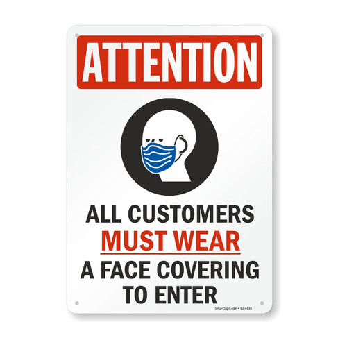 """MYSAFETY S2-4438 Plastic Face Mask Safety Sign, 7"""" x 10"""", Attention All Customers Must Wear a Face Covering"""