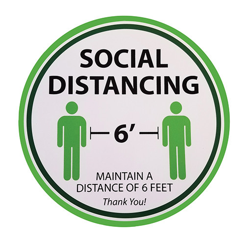 "Tablecraft 10614 ""Social Distancing"" Floor Sign, 11-3/4"" Round, White Vinyl"
