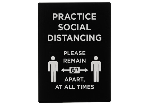 """Winco SGN-806 """"Practice Social Distancing"""" Stanchion Sign, 9"""" x 12"""", Black"""