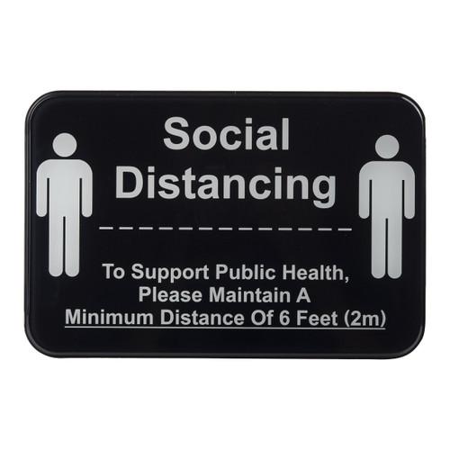 "Tablecraft 10595 ""Social Distance"" Sign, 9"" x 6"", Self Adhesive, Black"