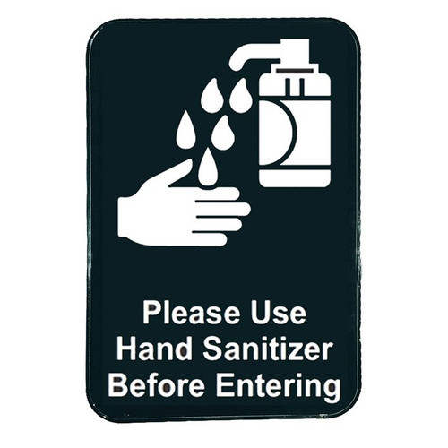 "Tablecraft 10594 ""Please Use Hand Sanitizer"" Sign, 9"" x 6"", Self Adhesive, Black"