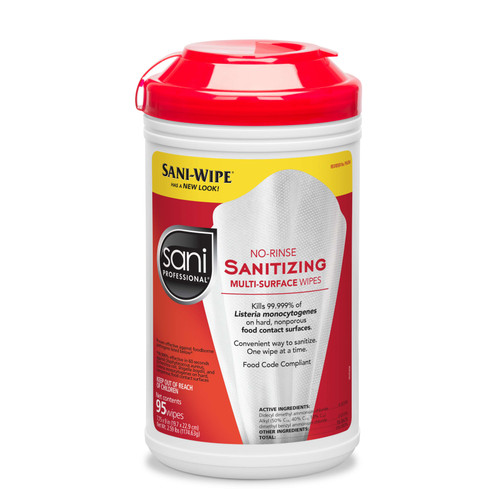 Sani Professional P56784 Sanitizing Wipes, No Rinse, 95 Count