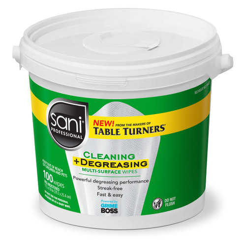 Sani Professional P0432P Multi Surface Cleaning & Degreaser Wipes, 100 Count