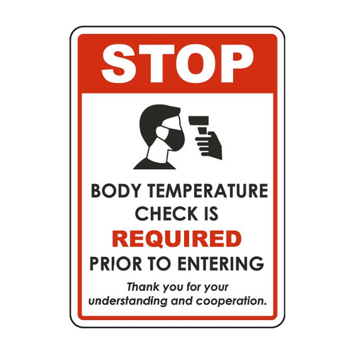 """MYSAFETY D6293-BB Plastic Sign, 7"""" x 10"""", STOP Body Temperature Check is Required Prior to Entering"""