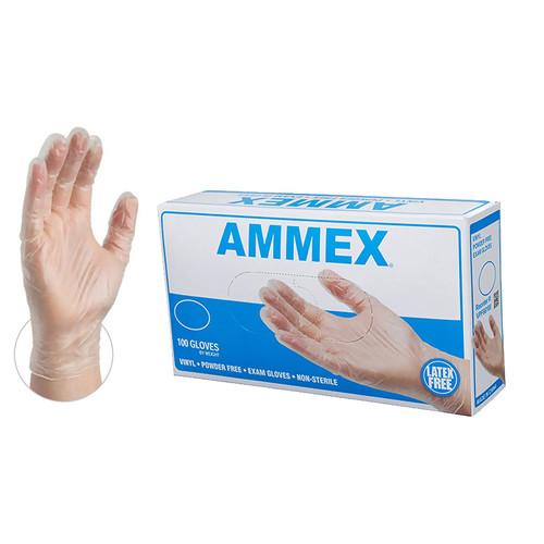 AMMEX VPF64100 Clear Vinyl Gloves, Powder Free, Medium, (100/box)
