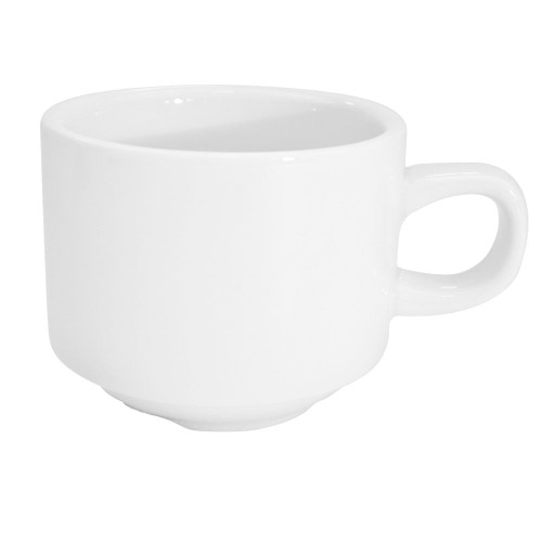 CAC RCN-1S 8.5 Oz Super White Porcelain Stacking Cup - 36/Case