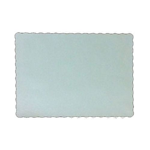 """10"""" x 14"""" Scalloped Rectangle White Paper Placemat - 1000/Case"""