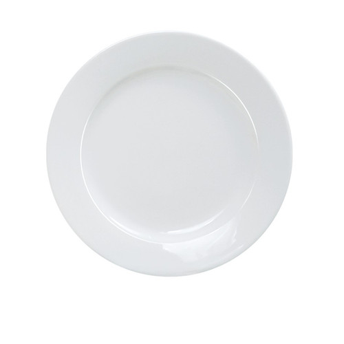 "Yanco AC-26 16"" Super White Round Porcelain Platter, Rolled Edge - 4/Case"