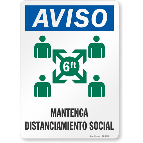 """MYSAFETY S2-4398-S-PL-10 Spanish Social Distancing Sign, 7"""" x 10"""", Notice Maintain Proper Social Distancing"""