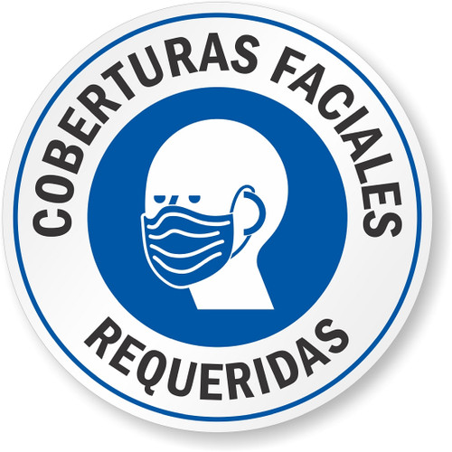 """MYSAFETY LB-4278-S-EU-4-CIR-R Spanish Face Covering Window Decal, 4"""" Round, """"Face Covering Required"""""""
