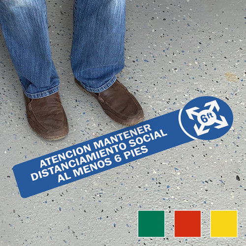 """MYSAFETY SF-0884-FO-26 SlipSafe Spanish Floor Sign, 6"""" x 26"""", Attention Maintain Social Distancing Of At Least 6 Feet Apart"""